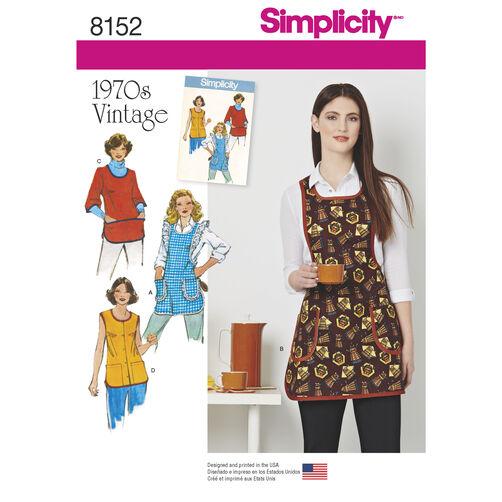 Simplicity Pattern 8152 Misses' Vintage 1970s Aprons