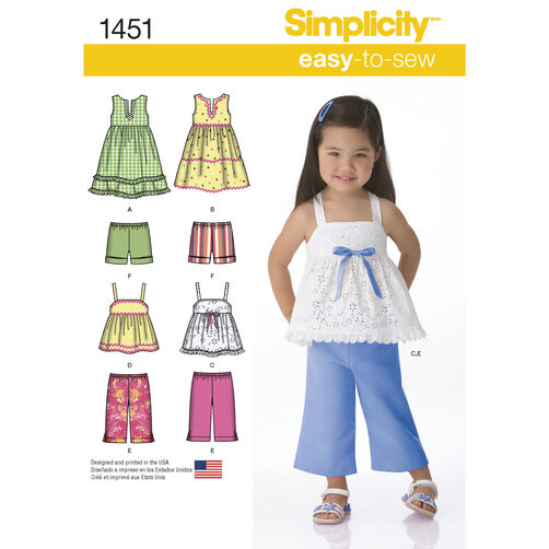 Simplicity Pattern 1451 Toddlers' Dresses, Top, Cropped Pants and Shorts