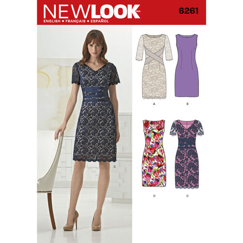 New Look Pattern 6261 Misses' Dress with Neckline Variations