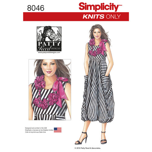 Simplicity Pattern 8046 Misses' Knit Dress with Flower Necklace
