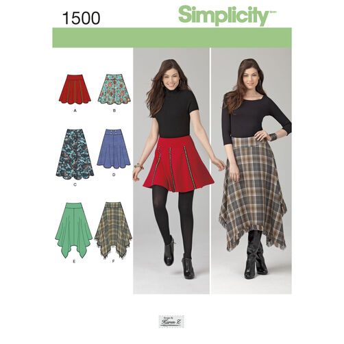 Simplicity Pattern 1500 Misses' Skirts with Length Variations