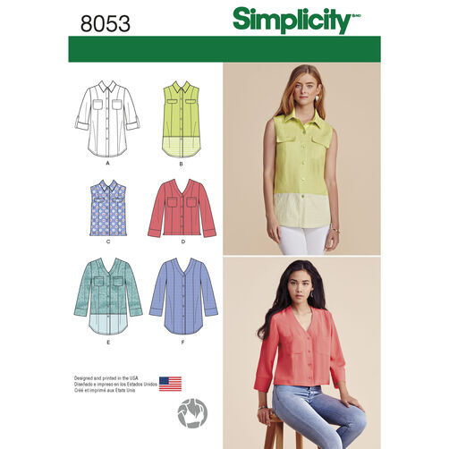 Simplicity Pattern 8053 Misses' Button Front Shirt in Various Styles