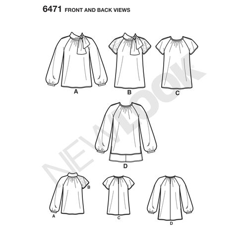 New Look Pattern 6471 Misses' Blouses and Tunic with