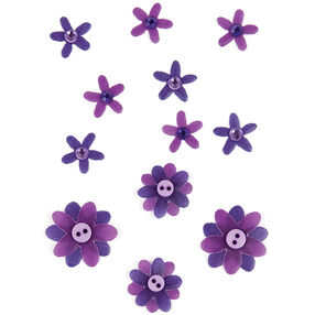 Dark Purple Flowers with Button Centers Embellishments_50-00536