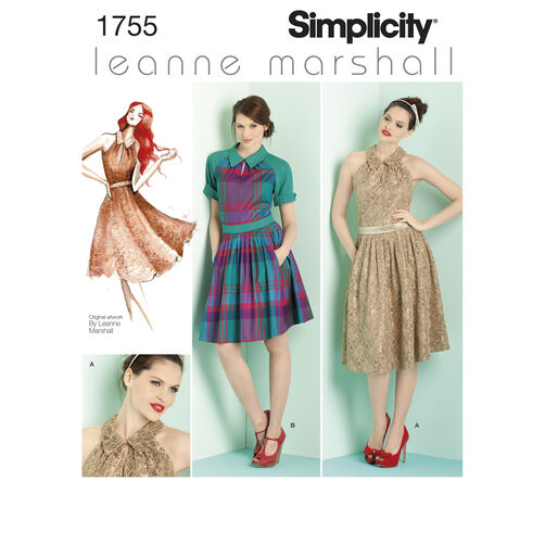 Simplicity Pattern 1755 Misses' & Miss Petite Dresses Leanne Marshall Collection