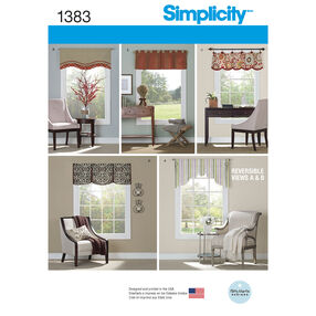 Simplicity Pattern 1383 Valances for 36 inch to 40 inch Wide Windows