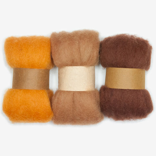 Gold and Rust Wool Roving Trio, Needle Felting_72-73931
