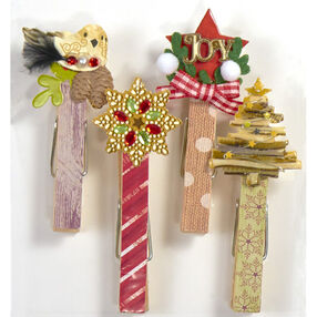 Decorative Christmas Clothespin Clips_50-21802