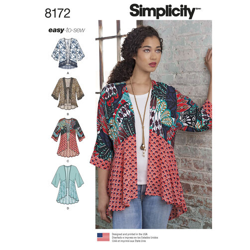 Pattern 8172 Misses Fashion Kimonos With Length Fabric