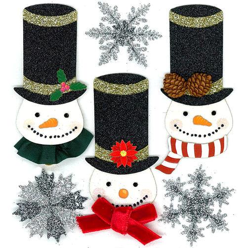 Glittered Snowmen Embellishments_50-20490