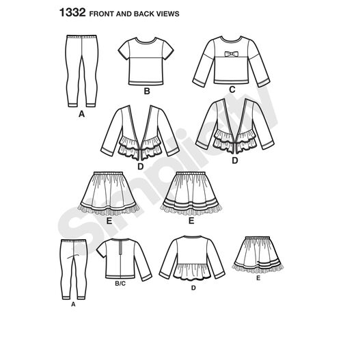 Pattern for Child's Skirt, Knit Leggings, Top and Cardigan