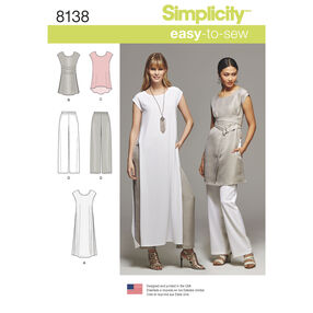 Simplicity Pattern 8138 Misses' Easy-to-Sew Tunics and Pull-on Pants