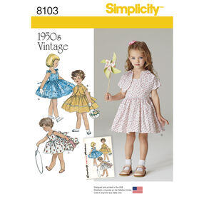 Simplicity Pattern 8103 Child's Vintage 1950's Dress and Lined Jacket
