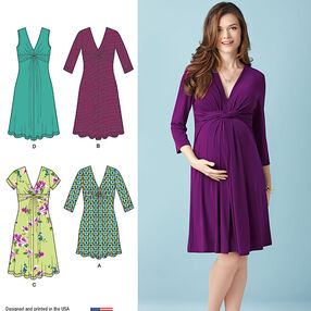 Misses' Maternity Knit Dress or Mini Dress