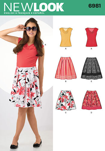 Misses' Knit Top and Skirts