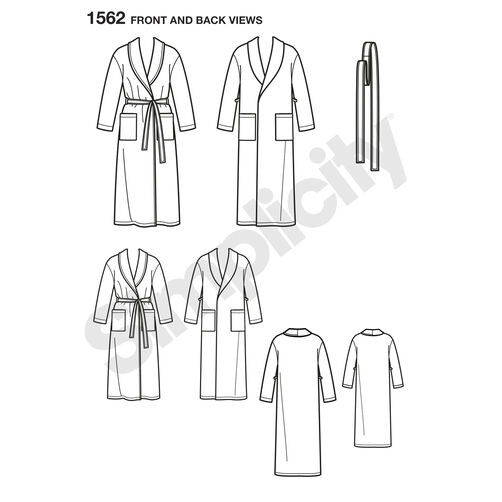 Pattern for Child's, Teens' and Adults' Robe and Belt
