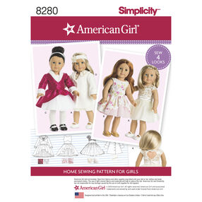 "Simplicity Pattern 8280 American Girl 18"" Doll Clothes"