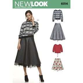 Misses' Skirt in Two Lengths with Knit Tops