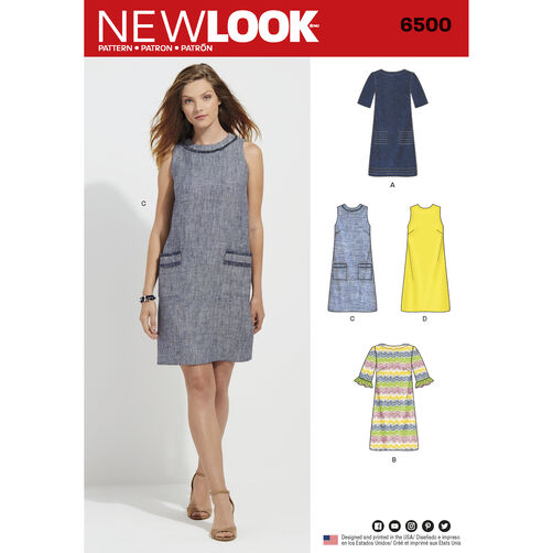 New Look Pattern 6500 Misses Dress With Neckline Sleeve