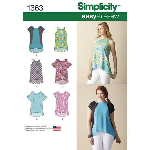 Simplicity Pattern 1363 Misses' Loose-Fitting Top With or Without Sleeves
