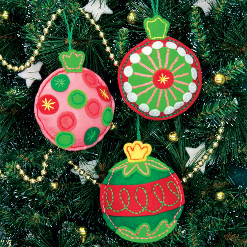 Simple Cheer Ornaments, Felt Applique_72-08184