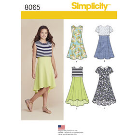 Simplicity Pattern 8065 Girls' and Girls' Plus Dress or Popover Dress