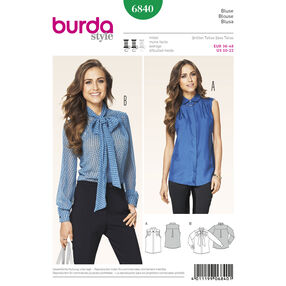 Burda Style Pattern 6840 Tops, Shirts,Blouses