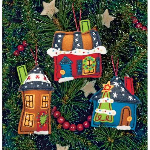 Holiday Homes Ornaments, Felt Applique_72-08182