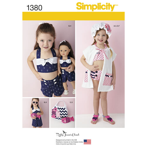 Simplicity Pattern 1380 Child's Swim & Play Suit Plus Accessories