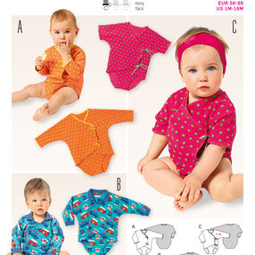 Burda Style Pattern 9383 Babies Wrap Dress and  Blouse