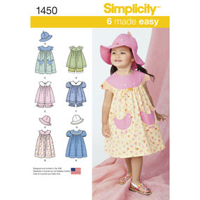 Simplicity Pattern 1450 Toddlers' Dress, Top, Panties and Hat