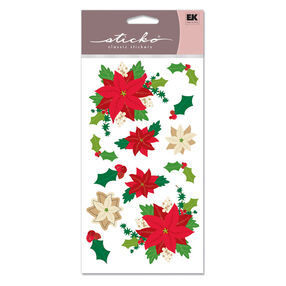 Poinsettias Vellum And Glitter Classic Stickers_SPSG107