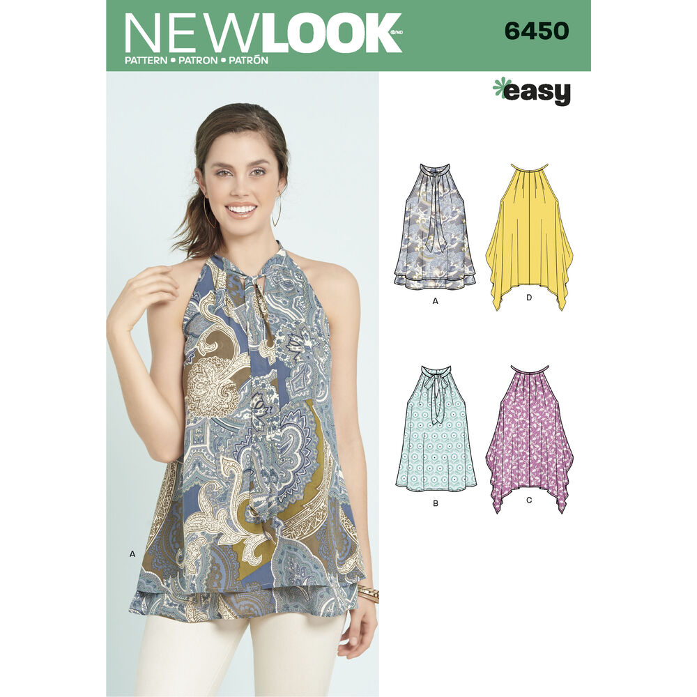 6450 Misses Easy Tops With Optional Neck Tie