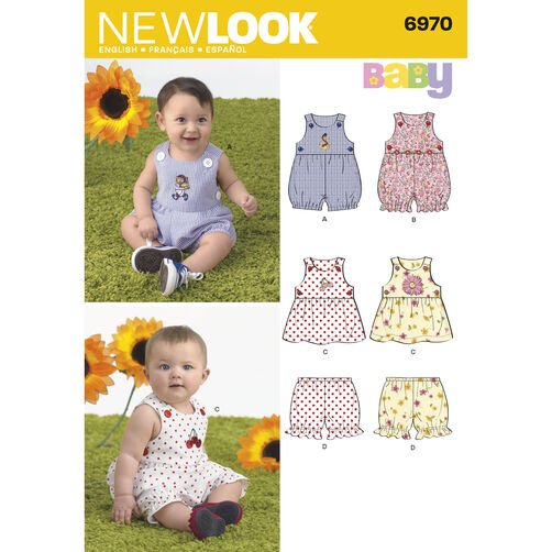 New Look Pattern 6970 Babies' Romper, Dress & Panties