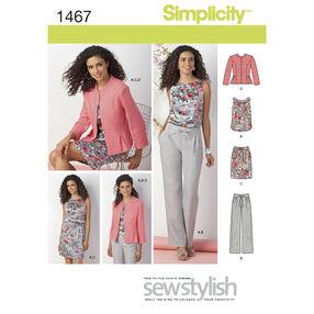 Simplicity Pattern 1467 Misses' & Miss Petite Top, Jacket, Pants & Skirt