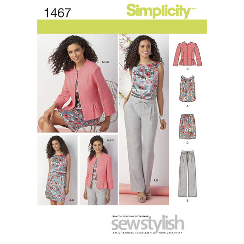 Simplicity Pattern 1467 Misses' & Miss Petite Top, Jacket, Pants & Skirt