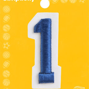 "2"" Raised Embroidery Number Iron-On Applique, Blue"