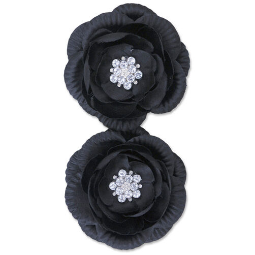 Black Pleated Edge Flower Embellishments_50-60306
