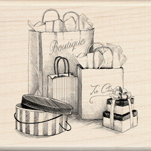 Shopping Bags Wood Stamp_60-00878