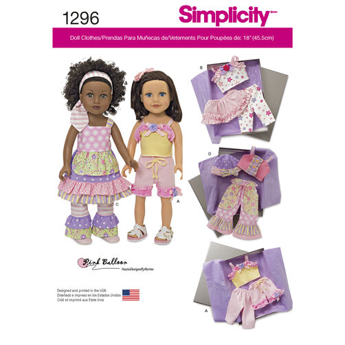 "Simplicity Pattern 1296 Clothes for 18"" Doll"