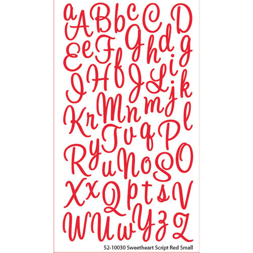 Sweetheart Script Red Glitter Small Stickers_52-10030