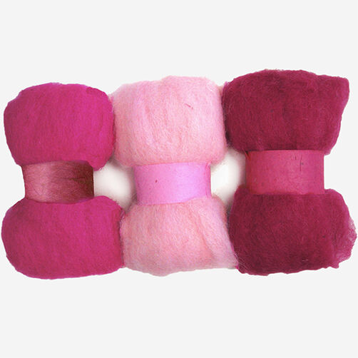 Pinks Wool Roving Trio, Needle Felting_72-74012