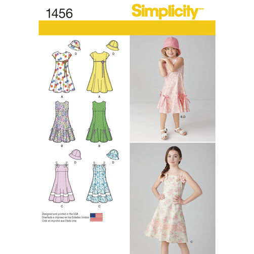 Simplicity Pattern 1456 Child's and Girls' Dress with Bodice Variations and Hat