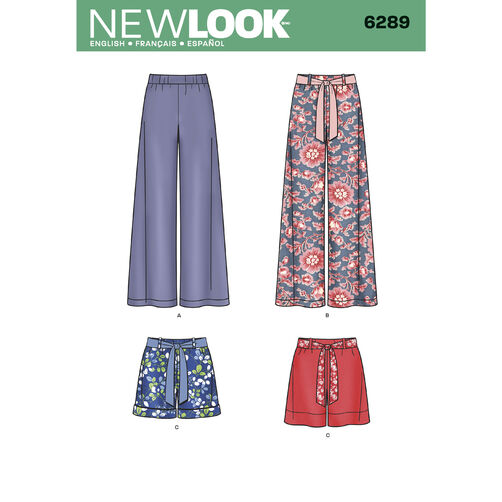 New Look Pattern 6289 Misses' Pull-on Pants or Shorts and Tie Belt