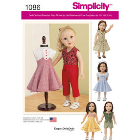 "Simplicity Pattern 1086 18"" Doll Clothes"