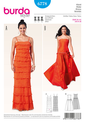 Burda Style Pattern 6778 Evening & Bridal Wear