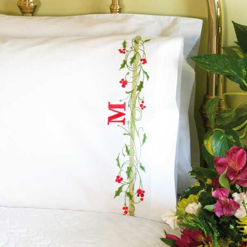 Holly Border Pillow Cases in Stamped Cross Stitch_72-08909