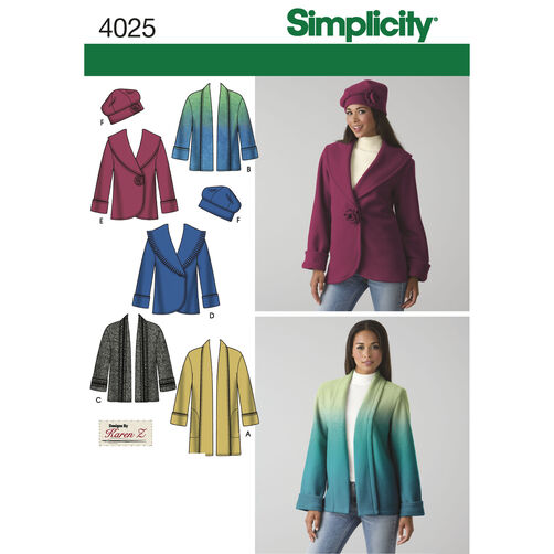 Simplicity Pattern 4025 Misses' Jacket and Hat