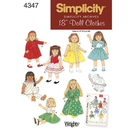 """Simplicity Pattern 4347 1950s Vintage 18"""" Doll Clothes"""