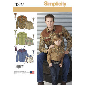 Simplicity Pattern 1327 Boys' and Men's Western Shirt and Tie